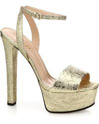 Gucci | Leila Metallic Leather Platform Sandals | Lyst