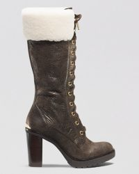 MICHAEL Michael Kors Lace Up Cold Weather Boots - Kim Shearling High Heel - Lyst