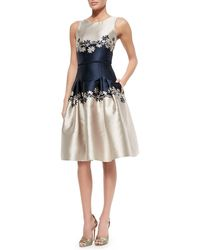 Carolina Herrera Sleeveless Two-tone Dress W Daisies - Lyst