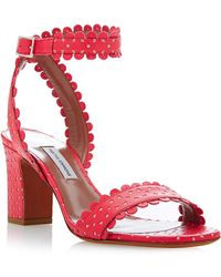 Tabitha Simmons Leticia Perforated-leather Sandals in Coral - Lyst