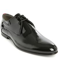 Hugo Black Patent Leather Evening Derby Shoes - Lyst