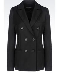 Emporio Armani Doublebreasted Jacket in Stretch Wool - Lyst