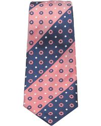 Turnbull & Asser - Slim Oxford Stripe And Circles Tie In Red And Navy - Lyst