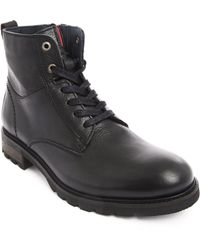 Tommy Hilfiger Zipped Boots Curtis Black Leather - Lyst