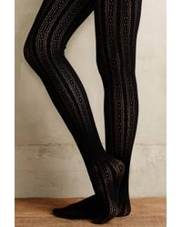 Eloise - Striped Noir Tights - Lyst