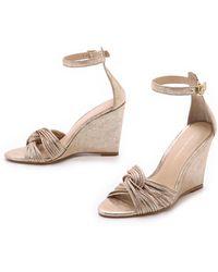 Loeffler Randall Allegra Wedge Sandals - Gold - Lyst