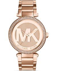 Michael Kors Rose Gold–Tone Parker Three-Hand Glitz Watch, 33Mm - Lyst