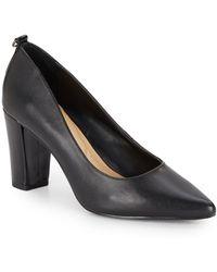 Ellen Tracy Plush Leather Point-toe Pumps - Black