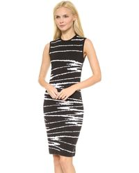 Versace Sleeveless Knit Dress Blackwhite - Lyst