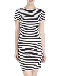 Vince Camuto Black & White Stripe Ruched Bodycon Dress - Lyst