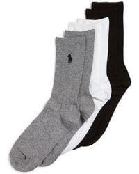 Polo Ralph Lauren Rib Crew Socks, Set Of 3 - Lyst