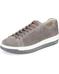 Prada Levitate Mens Suede Lowtop Sneaker - Lyst