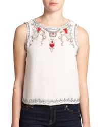 Alice + Olivia Cecillie Beaded & Embroidered Silk Top - Lyst