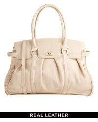 Ri2k Mortimer Leather Winter Ivory Handbag - Natural