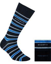 BOSS - Stripe And Plain Cotton Blend Socks - Lyst