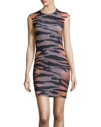 McQ by Alexander McQueen Cap Sleeve Tiger Houndstooth Stretch Knit Dress - Lyst