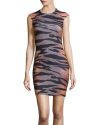 McQ by Alexander McQueen Capsleeve Tigerhoundstooth Stretchknit Dress - Lyst
