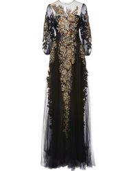 Marchesa Embroidered Long Sleeve Gown - Lyst