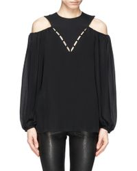 Emilio Pucci Cutout Shoulder Silk Crepe Blouse black - Lyst