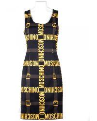Moschino Black Pencil Dress With Golden Print black - Lyst