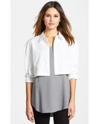 Eileen Fisher The Fisher Project Classic Collar Crop Shirt - Lyst
