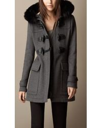 Burberry Detachable Fur Trim Fitted Duffle Coat - Lyst