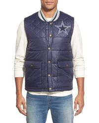 Mitchell & Ness 'dallas Cowboys' Quilted Nylon Vest - Blue