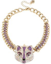 Betsey Johnson Crystallized Fox Frontal Necklace - Lyst