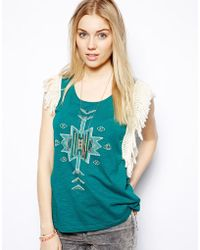 Colorblock Color Block Printed Vest with Fringing - Lyst