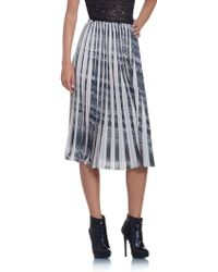 Patrizia Pepe Pleated Maxi Skirt In Soft Printed Fabric - Lyst