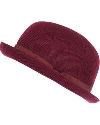 River Island Dark Red Soft Bowler Hat - Lyst