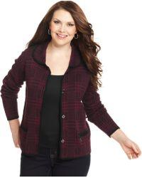 Jones New York Signature Plus Size Plaid Sweater Jacket - Lyst
