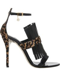 Oscar de la Renta Fringe And Leopard Sandal Fringe And Leopard Sandal - Lyst
