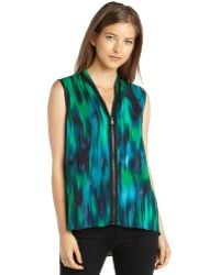 T Tahari Black and Green Stretch Woven Hi Low Carly Blouse - Lyst