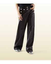 Gucci Black Leather Oversized Sailor Pant - Lyst