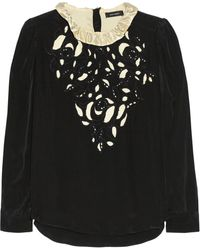 Isabel Marant Quincy Broderie Anglaise Silk Blouse - Lyst