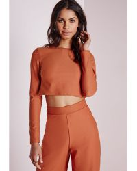 Missguided Wrap Back Long Sleeve Crop Top Rust - Lyst