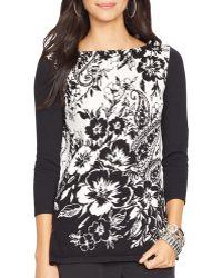 Ralph Lauren Lauren Petites Floral Sweater - Lyst