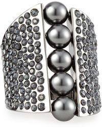 St. John - Signature Pearly & Crystal Cocktail Ring - Lyst