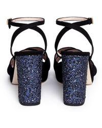 Kate Spade 'honey' Glitter Block Heel Suede Sandals - Black