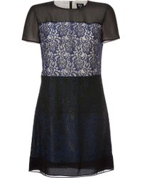 McQ by Alexander McQueen Lace Panel Cocktail Dress - Lyst