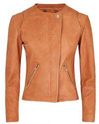 Muubaa Ronq Tan Leather Biker Jacket - Lyst