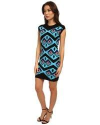 Love Moschino Geometric Print Cap Sleeve Dress - Lyst