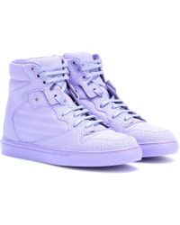 Balenciaga Perforated Leather High-Top Sneakers purple - Lyst