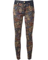 7 For All Mankind Floral Jacquard Pattern Skinny Trousers - Lyst