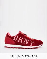 DKNY Active - Jete Logo Varsity Red Sneakers - Lyst