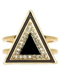 House Of Harlow Teepee Triangle Ring Black - Lyst