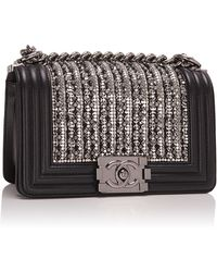 Madison Avenue Couture Black Lambskin Small Boy Bag With Metallic Glass And Pearl Embroideries - Multicolor
