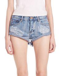 One Teaspoon | Distressed Rolled Denim Shorts | Lyst