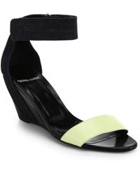 Pierre Hardy Denim & Leather Wedge Sandals - Lyst